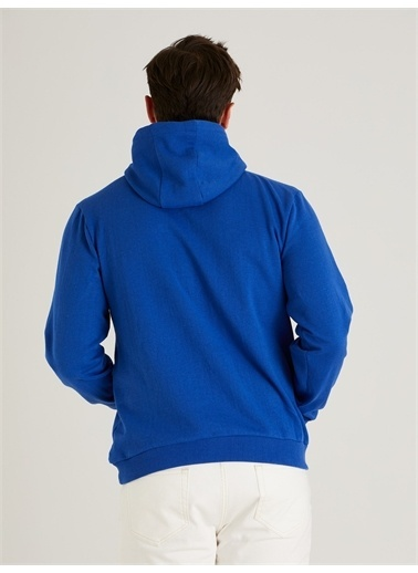 Dufy Kapüşonlu Kanguru Ceplı Erkek Sweatshirt - Slim Fit Saks